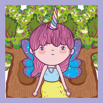 Créature fille avec corne et ailes dans l'arbre