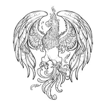 Créature magique de phoenix ou phenix des mythes grecs antiques.