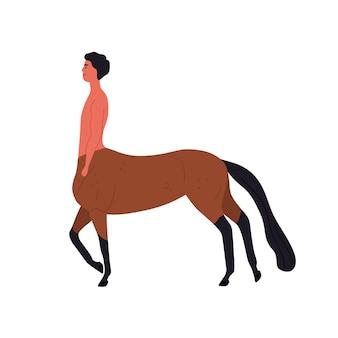 Créature mythique demi-cheval et mec vector illustration plate. héros de conte de fées fantastique centaure de dessin animé isolé sur fond blanc. personnage mythologique coloré avec sabots et queue.