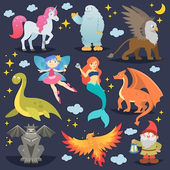 Créature mythique du vecteur animal mythologique phénix ou fantaisie fée et personnages de la mythologie sirène ou licorne et griffon illustration ensemble de bêtes de dessin animé isolés