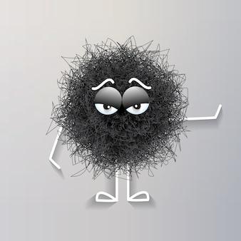 Créature sphérique noire pelucheuse