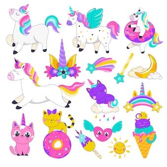 Créatures fantastiques et décoration arc-en-ciel, icônes isolées du personnage fictif de la licorne et de la flore