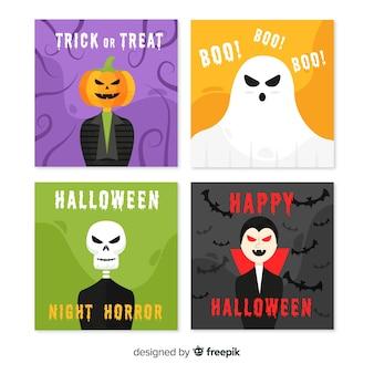 Créatures d'halloween sur la collection de cartes plat