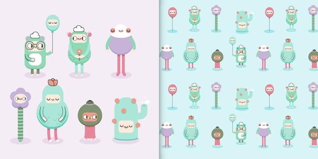 Créatures mignonnes de nature kawaii pour les enfants avec motif transparent