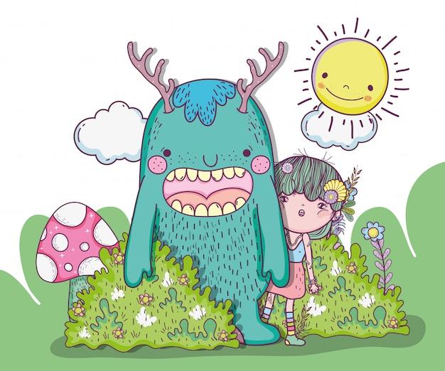Créatures monstre et fille avec soleil et nuages