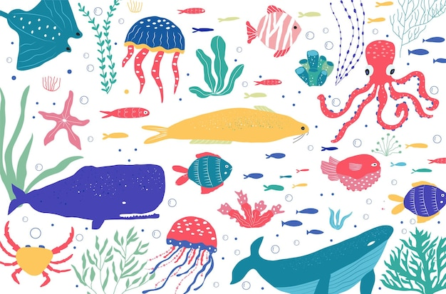 Des créatures sous-marines pêchent, des méduses, des poulpes, des poissons-clowns, des plantes marines et des coraux, avec des animaux marins pour le tissu, le textile, le papier peint, la décoration de la pépinière, les imprimés, le fond enfantin. vecteur