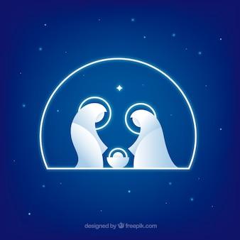 Crèche de Noël fond bleu