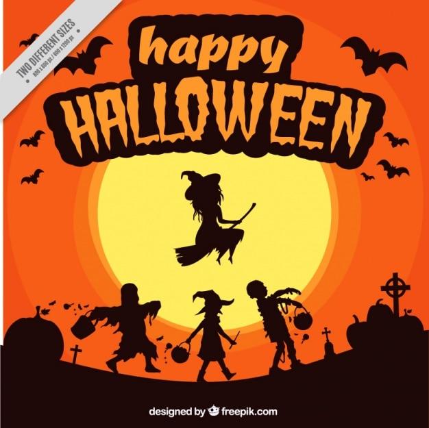 Creepy fond avec des monstres de halloween