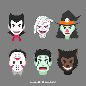Creepy pack de personnages de halloween