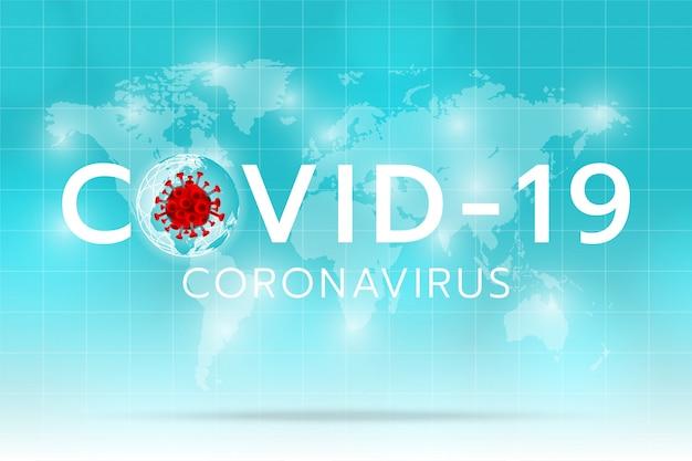 Créer une image de coronavirus sur la terre et le fond cyan