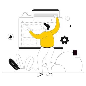 Créer des mises en page ligne plate d'illustration de site web