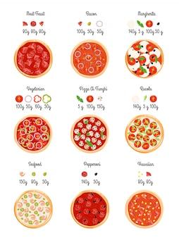 Créez une carte technologique de plat de pizza avec des tranches de sélection de pizza