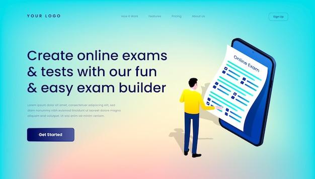 Créez des examens et des tests en ligne avec notre modèle de page de destination amusant et facile pour le générateur d'examens avec une interface utilisateur mobile d'illustration 3d isométrique