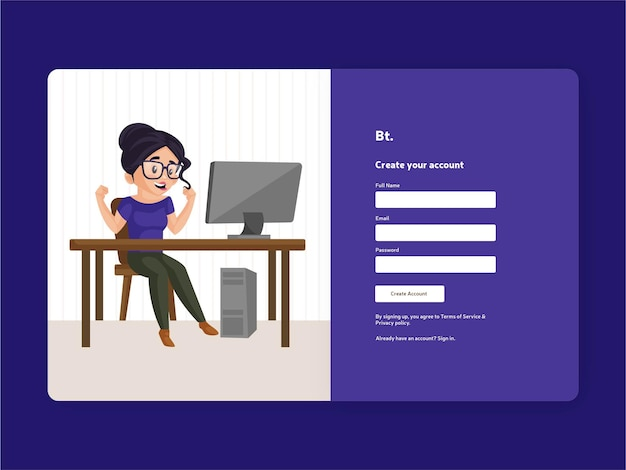 Créez un modèle de page d'inscription à votre compte