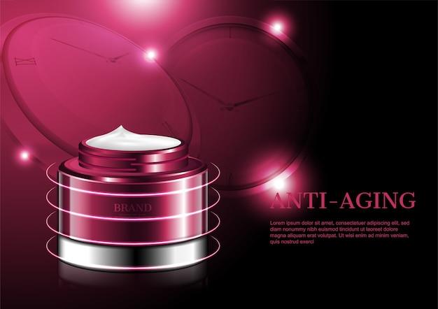 Crème anti-âge avec petites boules légères et horloges rouges