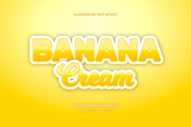 Crème banane effet texte