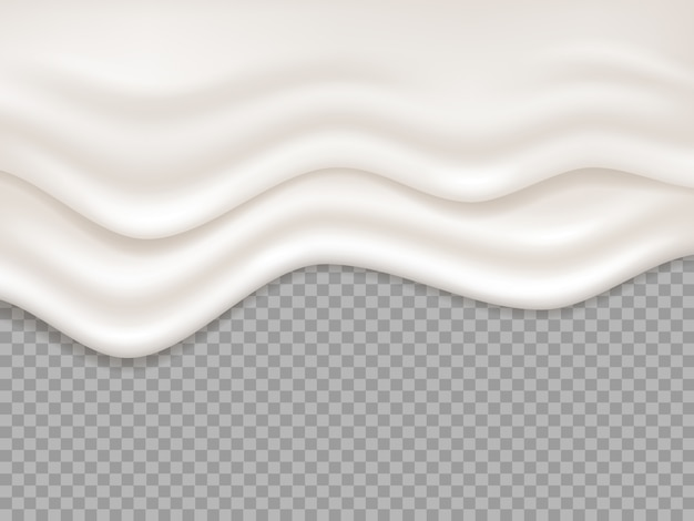 Crème blanche. éclaboussures de yogourt liquide crémeux au lait. dessert dégoulinant de mousse fondre coulant illustration isolé