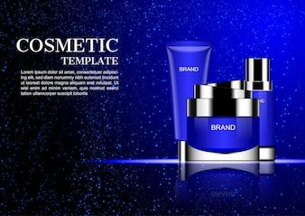 Crème cosmétique avec chute de poussière bleue sur fond sombre