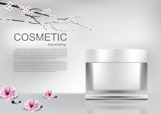 Crème cosmétique blanche et fleurs de sakura