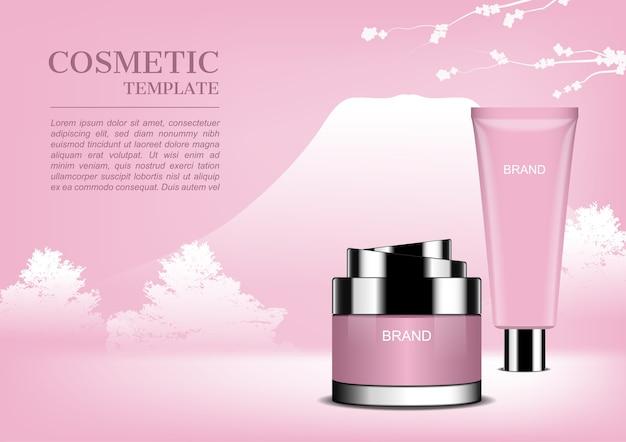 Crème cosmétique sur fond de montagne et de buissons rose