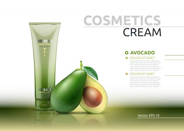 Crème cosmétique réaliste maquette d'essence d'avocat paquet.