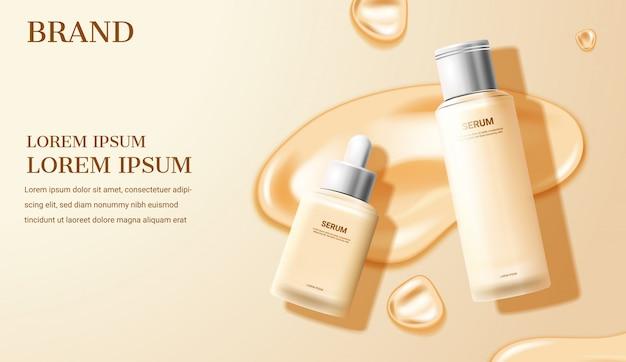 Crème cosmétique et sérum sur fond beige