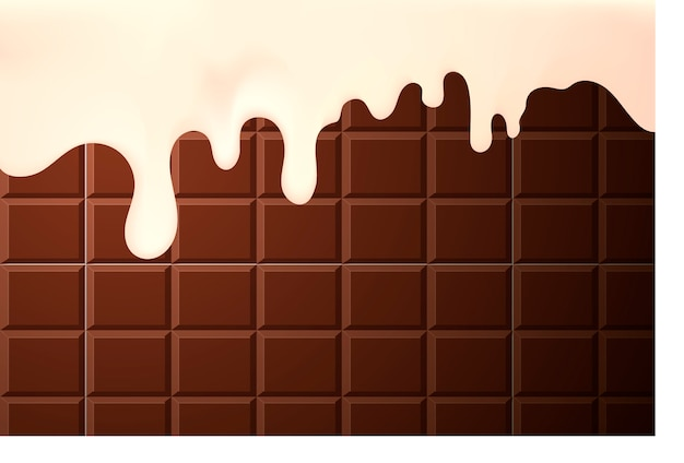Crème fluide appétissante sur les côtés d'un fond de gâteau au chocolat