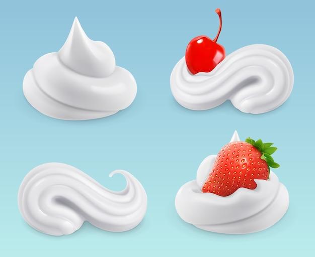 Crème fouettée, crème douce, cerises et fraises, set vector