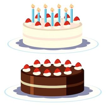Crème et gâteau au chocolat sur fond blanc
