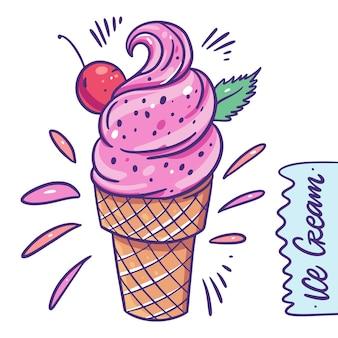 Crème glacée aux cerises dans une tasse à gaufres. dessert froid sucré.