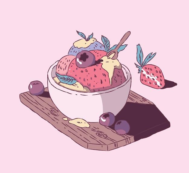 Crème glacée aux fraises avec style de main de bleuets. illustration de la crème glacée