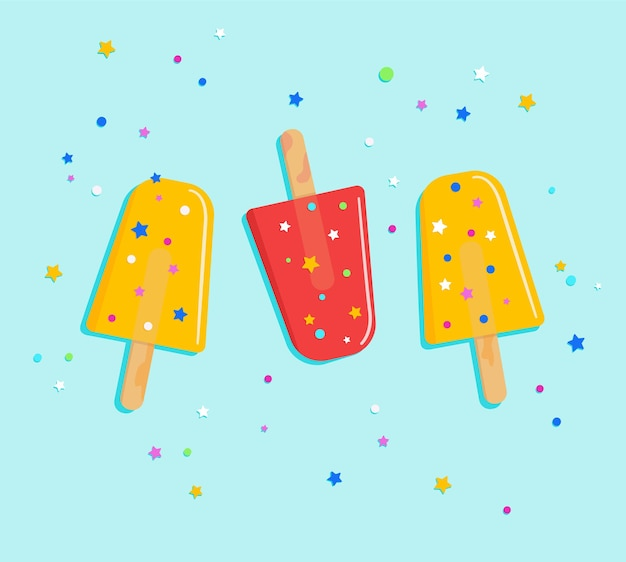 Crème glacée sur un bâton avec étoile