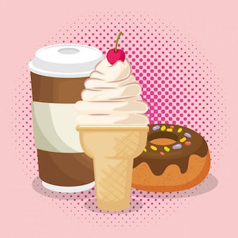 Crème glacée et beignet avec café