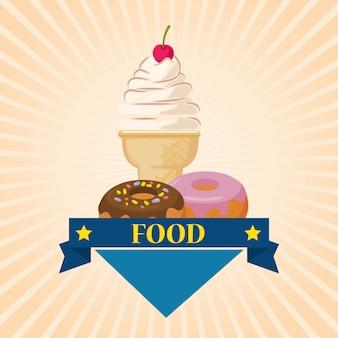 Crème glacée et beignets délicieux