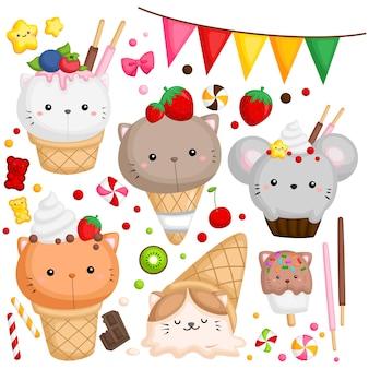 Crème glacée chat et souris