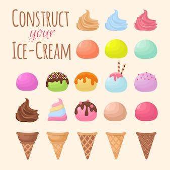 Crème glacée et cône de gaufre constructeur de création de bandes dessinées