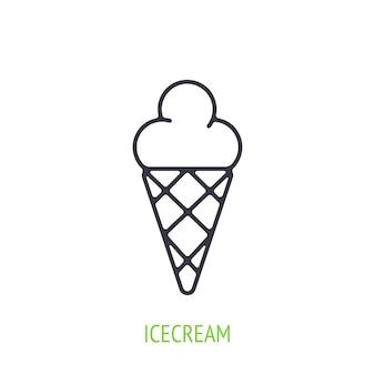 Crème glacée dans l'icône de contour de cône de gaufre illustration vectorielle symbole de l'été et des aliments sucrés