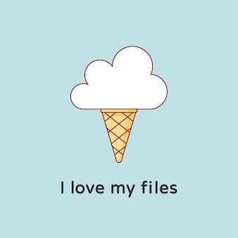 Crème glacée dans le nuage avec le texte que j'aime mes fichiers