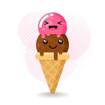 Crème glacée douce kawaii mignonne