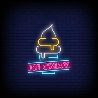 Crème glacée enseignes lumineuses style texte