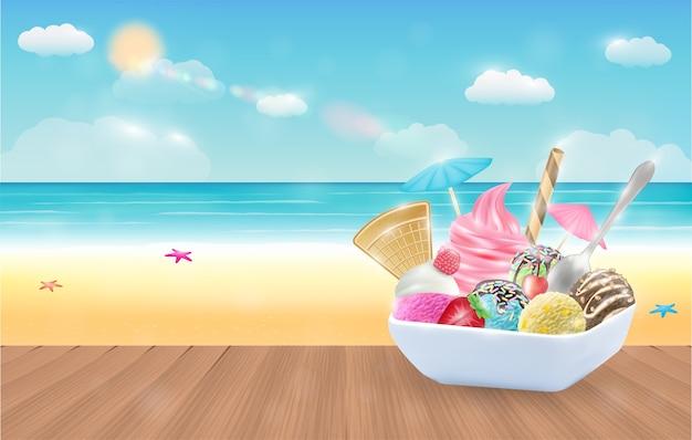 Crème glacée sur fond de plage de la mer