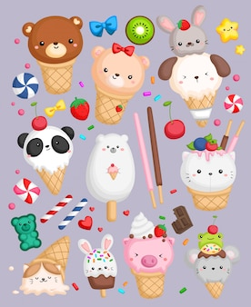 Crème glacée de forme animale