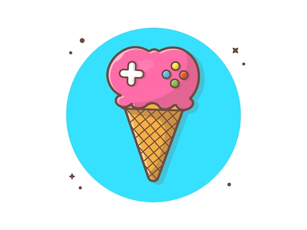 Crème glacée gaming vector icon illustration