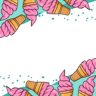 Crème glacée gaufre fond vecteur de dessin animé isolé