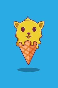 Crème glacée avec illustration de dessin animé de chat