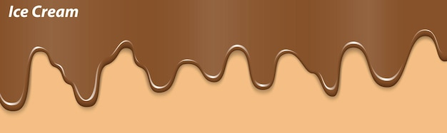 Crème glacée liquide réaliste fondant des desserts à la crème glacée gâteau sucré fondu sur un cornet de gaufres au chocolat