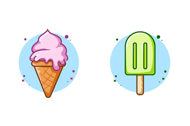 La crème glacée liquide sucrée et les bâtonnets de crème glacée conçoivent une illustration de dessin animé