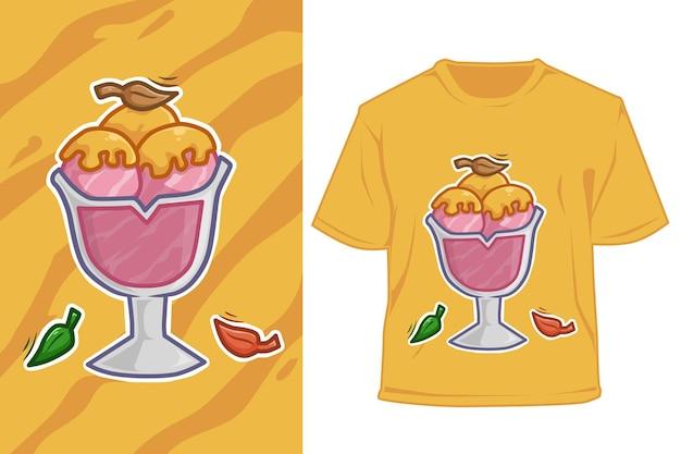 Crème Glacée De Maquette Avec Illustration De Dessin Animé De Miel Vecteur Premium