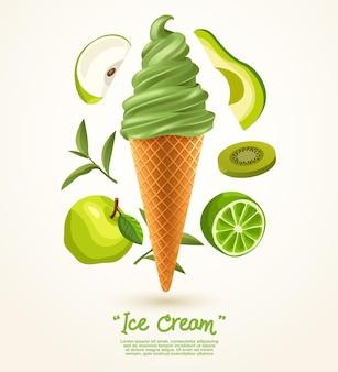 Crème glacée molle verte