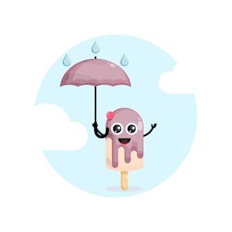 Crème glacée avec personnage mignon parapluie